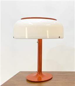 Sale 9252AD - Lot 5006 - SWEDISH KNUBBLING TABLE LAMP BY ATELJE LYKTAN, 1960s: space age, bright orange body and opaque plastic shade (h. 68.5, w. 55, d.55 c...