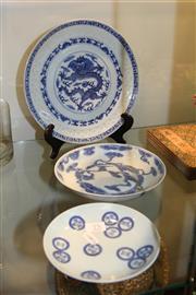 Sale 8306 - Lot 75 - Chinese Blue & White Dishes (3)