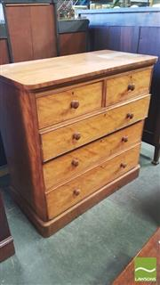 Sale 8402 - Lot 1084 - Victorian Satinwood Chest of Drawers on Plinth Base (large patch to top)
