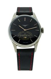 Sale 8406A - Lot 48 - Vintage mens large Longines Havana wristwatch, circa 1950 -60s, 35mm, black dial with Havana Patagras logo, manual wind, stainless...