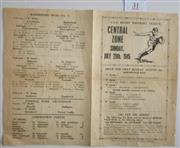 Sale 8418S - Lot 31 - CENTRAL ZONE CSA RUGBY FOOTBALL LEAGUE 29th July 1945. 4 page programme.