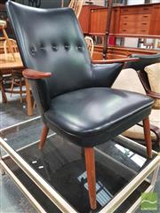 Sale 8435 - Lot 1078 - Danish Teak Leather Buttoned Back Armchair with Paddle Arms