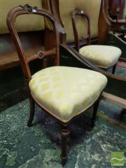 Sale 8539 - Lot 1016 - Pair of Victorian Walnut Chairs with Yellow Diaper Fabric and Turned Legs