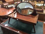 Sale 8672 - Lot 1053 - Unusual Edwardian Mahogany Bed Lap Table & Toilet Mirror, the oval mirror collapsible & with folding legs