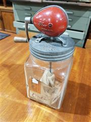 Sale 8765 - Lot 1094 - Old Blown Glass Butter Churn