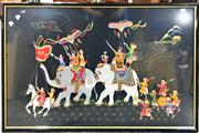 Sale 8945 - Lot 2097 - An Indian Embroidery depicting a Procession (68 x 103cm, frame) -