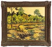 Sale 8976H - Lot 27 - Wildhagen; By the lakes Edge,  oil on canvas, signed and dated lower right, 69cm x 78cm (damage to gesso frame)