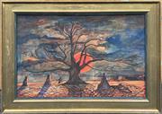 Sale 9087 - Lot 2019 - Artist Unknown Blood Moon over Barren Landscape watercolour (AF) 60 x 80cm unsigned -