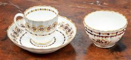 Sale 9120H - Lot 39 - A Flight period Worcester gilt and blue cup and saucer with associated tea bowl.