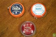 Sale 8326 - Lot 1021 - Good Collection of Vintage Russell YoYos incl. Australian Made Fanta x 2 and Coca~Cola - Made in the Philippines