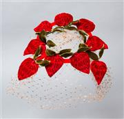 Sale 8541A - Lot 43 - A vintage Martha Weathed fascinator with red velvet strawberries and lace netting, damage to netting, with box