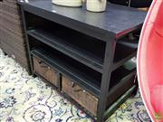 Sale 8629 - Lot 1025 - Modern Entertainment Unit with Two Wicker Drawers