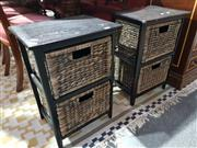 Sale 8760 - Lot 1100 - Pair of Bedsides with Wicker Drawers