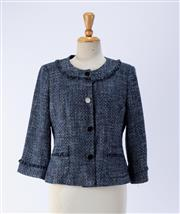 Sale 8891F - Lot 4 - A Karl Lagerfeld, Paris metallic blue tweed-style box jacket with fringing to collar, pockets and wrists, size 8