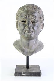 Sale 8890 - Lot 8 - A Cast Metal Bust of A Male on Stand (H 41cm)