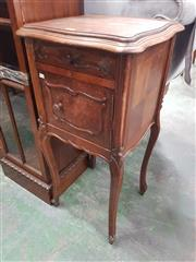 Sale 8917 - Lot 1088 - Antique French Walnut Bedside Cabinet, with a drawer & panel door, on cabriole legs