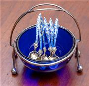 Sale 9058H - Lot 8 - A set of six hallmarked silver and enamelled spoons decorated with daisies, marked 925 housed in a blue glass sugar bowl