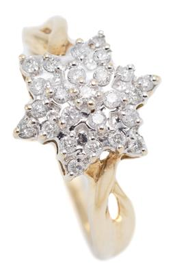 Sale 9145 - Lot 365 - A 9CT GOLD DIAMOND CLUSTER RING; starburst cluster set with 25 round brilliant cut diamonds totalling approx. 0.25ct, Size N, top 12...