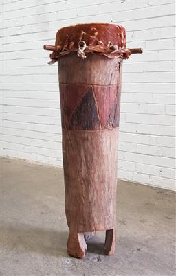 Sale 9112 - Lot 1004 - Timber tribal drum (h:107 x d:40cm)