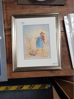 Sale 9127 - Lot 2080 - Leo Dekaron Violin Lesson, charcoal and watercolour, frame: 32 x 28 cm, signed lower right