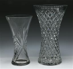 Sale 9156 - Lot 41 - Royal Doulton crystal vase (H:25cm) together with another (H:30cm)