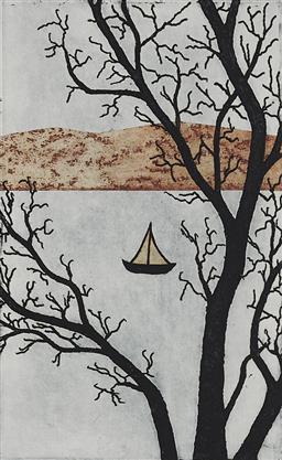 Sale 9170A - Lot 5026 - CHRISTINA CORDERO (1940 - ) Crossing Solo, 2012 etching, aquatint, intaglio, chinecolle, ed. 4/12 (no glass) 19.5 x 12 cm (frame: 43...