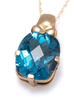 Sale 9213 - Lot 377 - A 14CT GOLD TOPAZ PENDANT NECKLACE; featuring an approx. 6ct oval chequerboard cut blue topaz on a fine Prince of Wales chain with b...