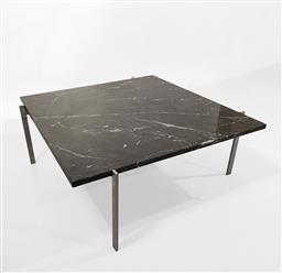 Sale 9252AD - Lot 5012 - POUL KJAERHOLM PK61 COFFEE TABLE FOR KOLD CHRISTENSEN,1950s: early example with original base and new marble (h. 32.5, w. 85, d. 85 cm)