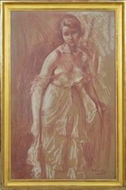 Sale 8374 - Lot 587 - Otto Vautier (1863 - 1919) - Untitled (Woman Standing) 74 x 46cm