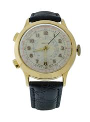 Sale 8406A - Lot 50 - Early Swiss made 2 button chronograph, circa 1950s, in gold plated case, tachymeter dial, 37.6 mm, hand winding, fully restored