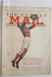 Sale 8418S - Lot 32 - SYDNEY MAIL 18TH APRIL 1934. Front cover, showing Footballer leaping and catching football, illustrated by Walter Jardine.