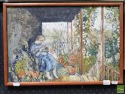 Sale 8491 - Lot 2021 - Artist Unknown - On the Porch 29.5 x 44cm