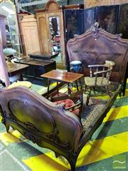 Sale 8539 - Lot 1099 - Louis XV Style Carved Rosewood 3/4 Bed