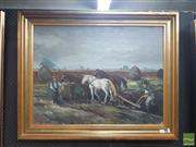 Sale 8548 - Lot 2012 - Artist Unknown Ploughing The Fields oil on hessian, 59 x 78cm, signed lower left