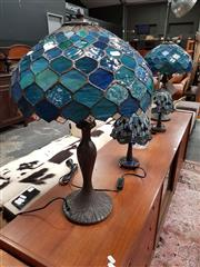 Sale 8688 - Lot 1023 - Pair of Large Leadlight Table Lamps