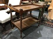 Sale 8795 - Lot 1067 - Tiered Timber Serving Trolley with Barley Twist Supports