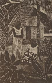Sale 8916 - Lot 504 - Ray Crooke (1922 - 2015) - Two Girls 26 x 17 cm