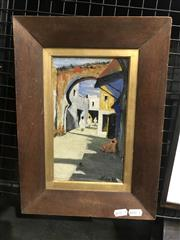 Sale 9072 - Lot 2018 - Artist Unknown North African Alley Way oil on canvas 36 x 26cm (frame) signed