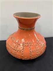 Sale 9092 - Lot 1050 - Bitossi style crackle glaze pottery vase (h:20cm)