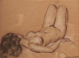 Sale 9133 - Lot 593 - Garrett Kingsley (1915 - 1982) Reclining Female Nude pastel 34 x 44.5 cm (frame: 42 x 53 x 3 cm) signed lower right