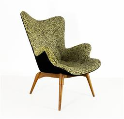 Sale 9252AD - Lot 5025 - GRANT FEATHERSTON R160 CONTOUR CHAIR: restored and authentically reupholstered in original 50s atomic patterned yellow/ black bucle...