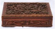 Sale 8319 - Lot 3 - 1950s Chinese carved wooden box with dragon motifs