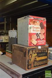 Sale 8509 - Lot 2267 - 4 Arnotts Biscuit Tins incl. Spicy Fruit Roll, Assorted Cream, etc