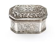 Sale 8517A - Lot 62 - A hinged lidded octagonal silver box with repousse and etched foliate designs, stamped 925, 139g, L 9cm