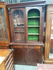 Sale 8868 - Lot 1150 - William IV / Early Victorian Mahogany Bookcase, with two arched astragal panel doors, long drawer & two arched timber panel doors (a...