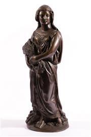 Sale 9010D - Lot 701 - A Large Cast Bronze Figure Of A Lady H: 43cm