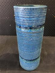 Sale 9039 - Lot 1081 - Italian Bitossi Blue Glaze Cylinder Vase (h:35cm)
