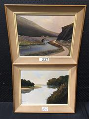 Sale 9053 - Lot 2061 - Val McGann (2 works), Horse riders; By the lake, oil on canvas on board, 41 x 51 cm (each), each signed lower left