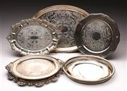 Sale 9078 - Lot 92 - A collection of EPNS serving trays (7) D25 - 45cm