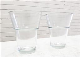 Sale 9117 - Lot 1024 - Pair of post modern tempered glass waisted vases with original labels by Hamburg (h:18cm)